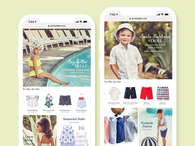 Summertime Styles | Janie and Jack web ui design