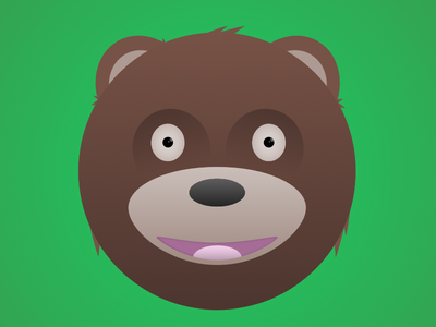 Teddy bear bear illustration green brown eyes mouth tongue ears hair grizzly