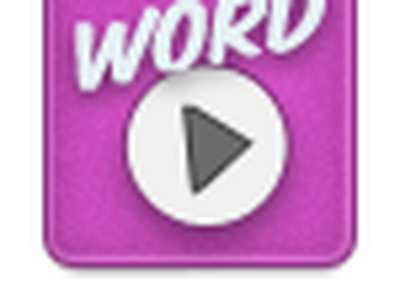 Word play app icon app icon pink word