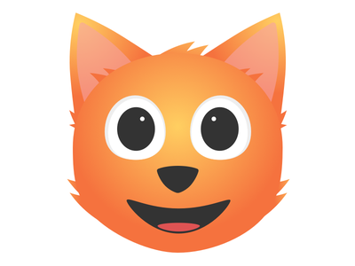 Cat ears nose mouth cat eyes orange app logo icon