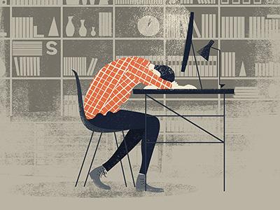 Me right now illustration texture shelves books bookshelf chair desk lamp tired depressed