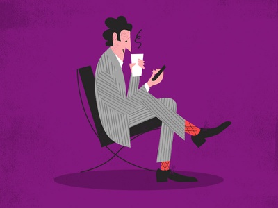 Barcelona Chair Guy pinstripes suit sitting barcelona chair mies socks argyle coffee smartphone
