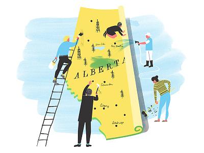 Changing Alberta alberta province canada renovation chores sweeping hammering watering painting unrolling