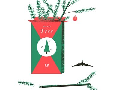 Deluxe Tree artificial tree christmas xmas disassembly illustration vintage texture packaging bulb