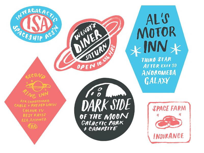 Even more bumper stickers moon saturn intergalactic badges space travel