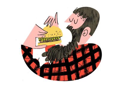 Nom Nom buffalo man hungry eating beard plaid lumberjack hamburger burger