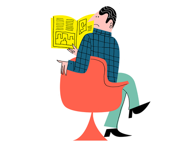 What was that?! surprise plaid man guy sitting reading magazine eames tulip chair