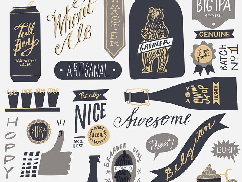 Craft Beer ale belgian bear hoppy beard tallboy grey navy hot stamp foil gold letterpress