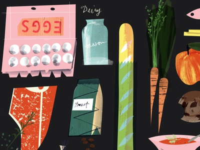 Grocery Store collage vintage carrots carton eggs tbone steak coffee texture illustration