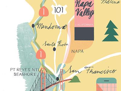 California Map west coast santa rosa platina sfo san francisco mendocino wine napa valley illustration golden gate