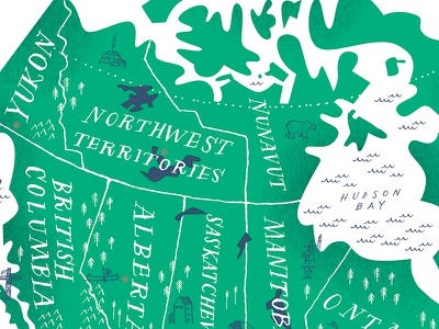 Map of Canada texture illustration northwest territories nunavut manitoba saskatechewan alberta bc yukon provinces canada map