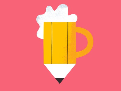 Drink and Draw logo draw drawing stein mug glass beer pencil
