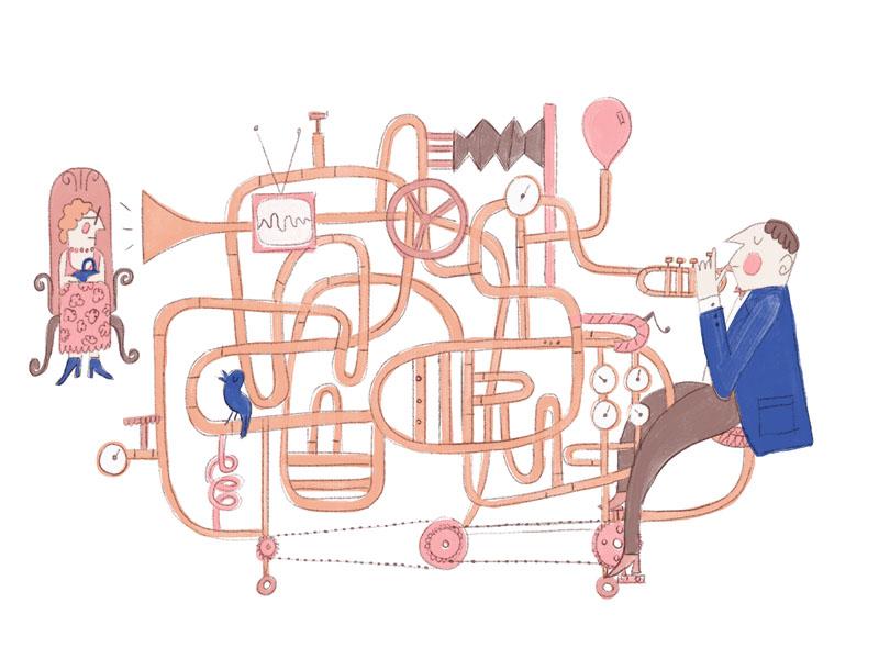 Trumpet guy contraption balloon goldberg rube pedal granny loud invention bike trumpet