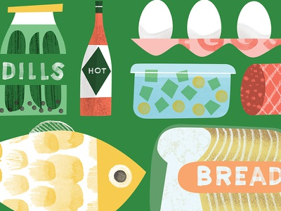 What's in Your Fridge? illustration lettering eggs hot sauce dill pickles bread fish deli groceries food fridge