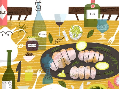 Italian Feast bottles olio frizzante italian tabletop illustration table food