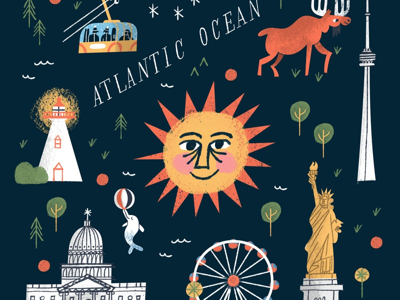 Lovelies for an Illustrated Map ferris wheel gondola ski lift tremblant gay dolphin statue of liberty cn tower moose lighthouse sun