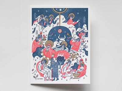 Christmas card christian orthodox nativity letterpress illustration christmas card