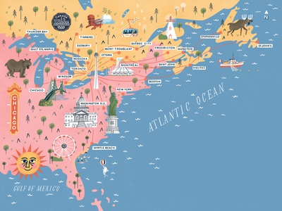 Flight Map chicago big nickel bear moose detroit windsor montreal tremblant myrtle beach washington d.c. statue of liberty new york atlantic ocean toronto united states canada eastern seaboard map illustration