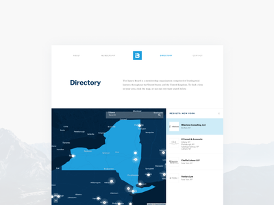 Injury Board Directory flat design web ui