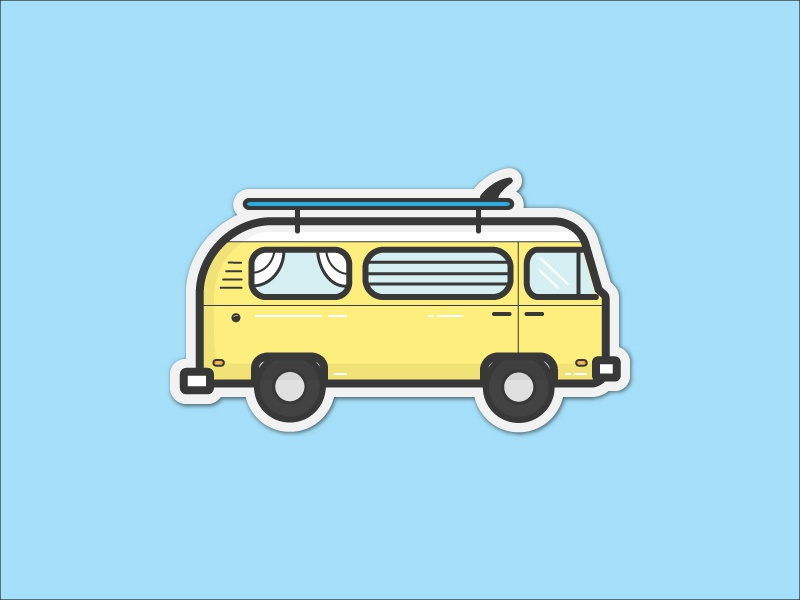 VW Surf Bus Sticker surf bus surf board surf photographer james barkman retro old sticker illustration yellow bus vw