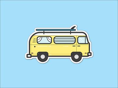VW Surf Bus Sticker surf bus surf board surf photographer james barkman retro old sticker illustration yellow bus vw