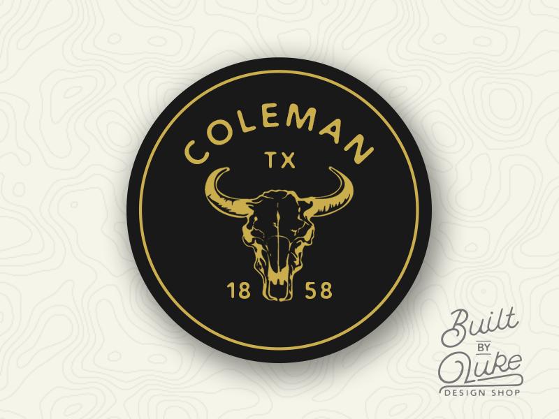 Coleman Texas Sticker builtbyluke coleman south texas skull cow vintage retro gold yellow illustration sticker