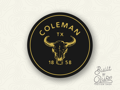 Coleman Texas Sticker builtbyluke coleman south texas skull cow vintage retro gold yellow illustration sticker