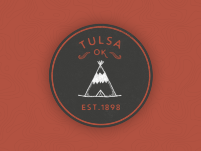 Tulsa Oklahoma Sticker luke holloway builtbyluke design hand drawn teepee black and red dark red illustration sticker