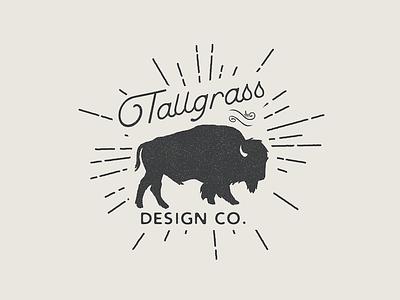 Tallgrass Design Co Logo black and white stipple speckled vintage texture bison buffalo illustration design builtbyluke