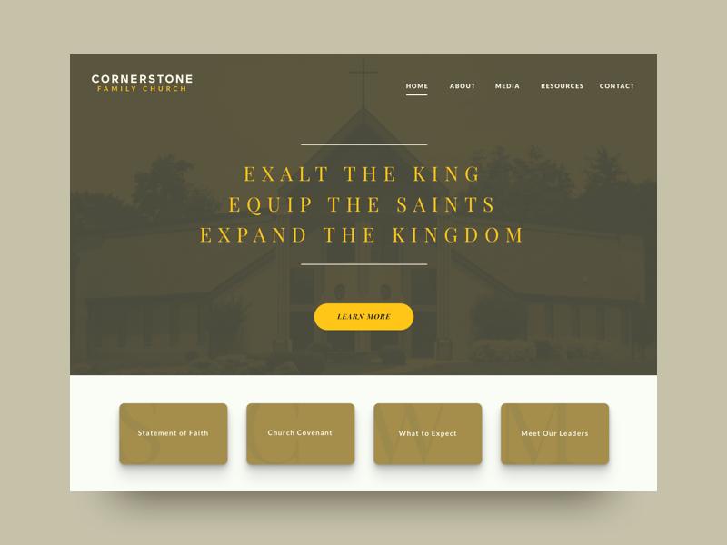 WIP for Church Website religion church experience inspiration clean modern shadows tan yellow visual design ui website