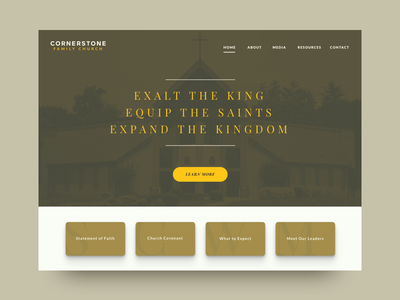 WIP for Church Website religion church experience inspiration clean modern shadows tan yellow visual design ui website