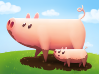 Illustration : Pig Family