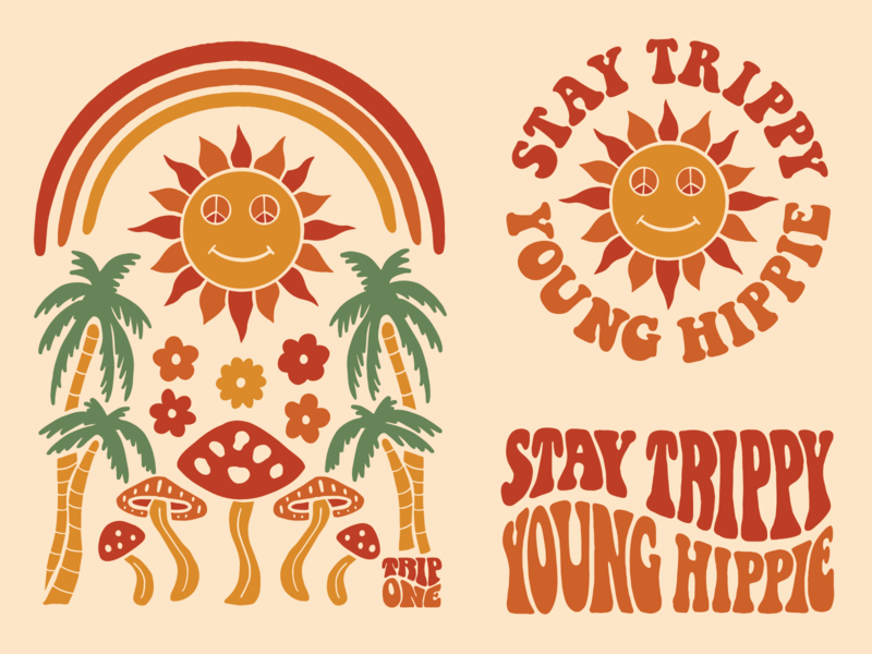 Stay Trippy Young Hippie print illustration apparel brand clothing brand branding sixties hippie sun rainbow palm tree magic mushrooms psychedelic retro
