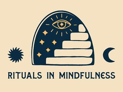 Rituals In Mindfulness meditation astrology mindfulness hand drawn brand identity typography procreate print graphic design illustration badge vintage logo branding