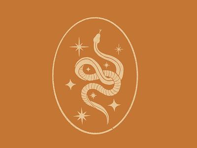 Cosmic Snake Badge snake brand identity texture procreate print graphic design illustration badge vintage logo branding