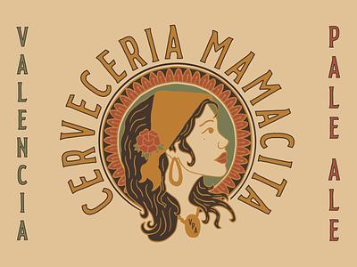 Cerveceria Mamacita graphic design coaster t shirt label packaging beer brand identity texture typography print illustration badge logo branding