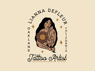 Lianna Defleur Tattoo Artist hand drawn tattoo vintage retro typography illustration brand identity graphic design badge logo branding