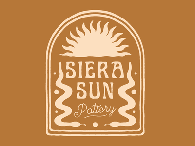 Siera Sun Pottery snake logo sun logo hand drawn texture retro typography vintage graphic design badge illustration logo branding