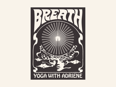 Yoga With Adriene Apparel Design vector hand drawn brand identity poster design yoga logo vintage t-shirt design apparel typography graphic design illustration branding