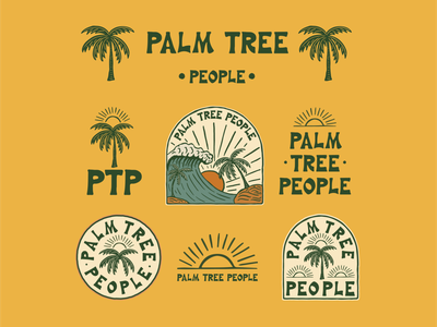 Brand identity for Palm Tree People apparel hand drawn print design brand identity graphic design badge logo illustration branding