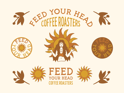 Feed Your Head Coffee Branding coffee branding coffee logo coffee bean coffee roasters coffeeshop coffee badge brand identity vintage graphic design logo illustration branding