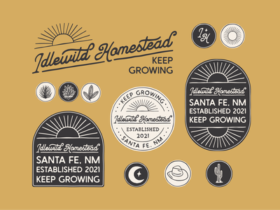 Branding for Idlewild Homestead hand drawn brand identity retro vintage graphic design badge logo illustration branding