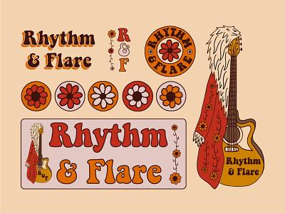 Vintage Store Branding for Rhythm & Flare flower guitar retro apparel hand drawn brand identity typography vintage badge logo illustration branding