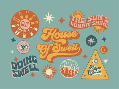 Brand And Apparel Design for House Of Swell. badge hand drawn t-shirt design apparel typography retro vintage graphic design logo illustration branding