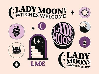 Brand Identity Design For Lady Moon Co. packaging apparel logo design hand drawn brand identity typography vintage graphic design badge logo illustration branding