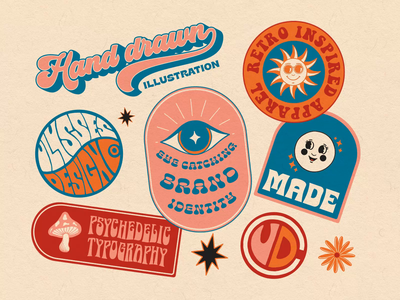 Animated Brand Identity fun psychedelic retro agency brand rebrand sticker character animated gif animation kinetic typography typography badge logo illustration branding motion graphics