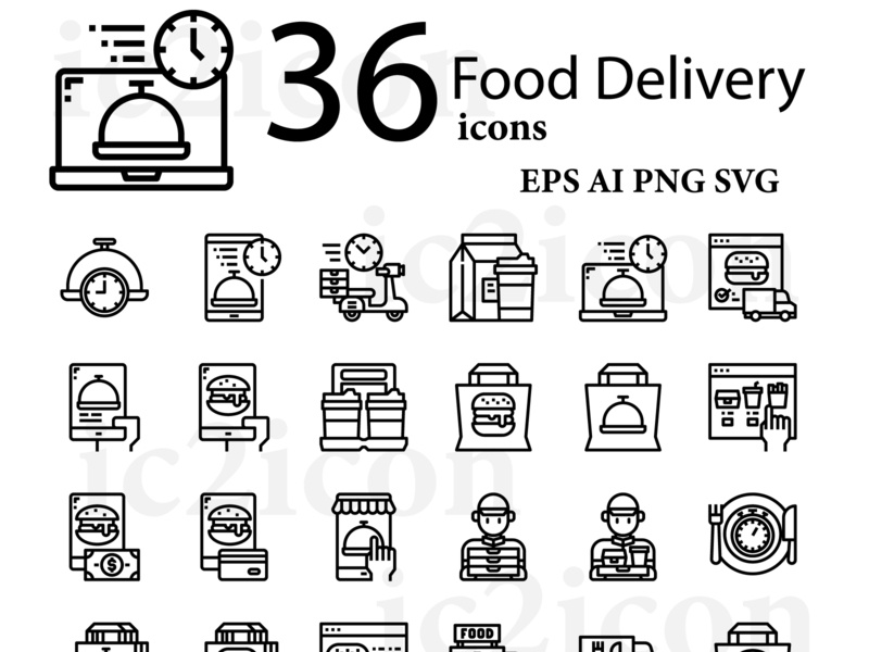 36 Food Delivery Icons design illustration vector icon app