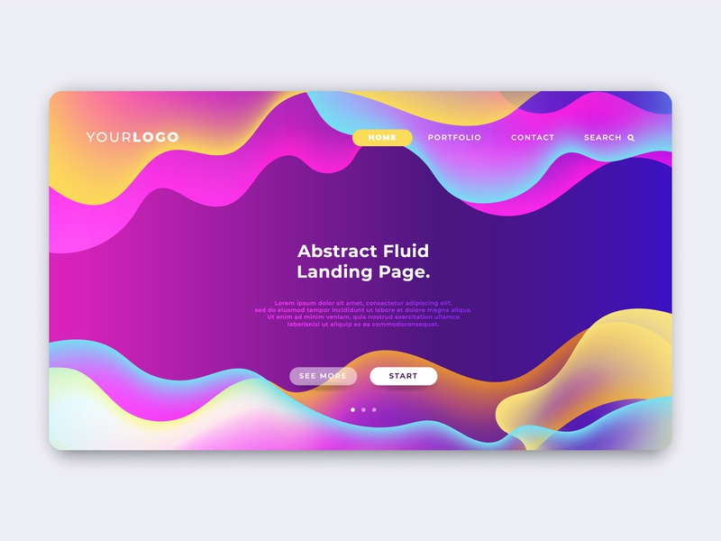 Abstract Colorful Fluid Landing Page design illustration web web design ui  ux modern gradient vector illustraion branding marketing digital template business website landingpage colorful abstract liquid fluid