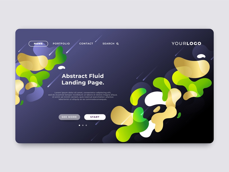 Abstract fluid landing page template, web page design. internet marketing interface homepage liquid fluid web design illustration business background vector abstract