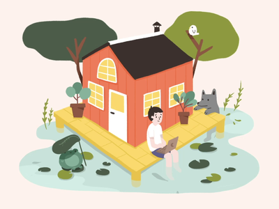 Peaceful Nature pond tree nature house frog fish inspiration motiongraphics motion design motion illustrator illustration bird animator animation 2d animation after effects adobe 2d